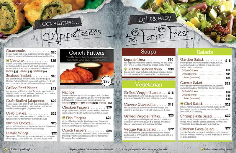 Caramba Restaurant menu